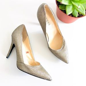 Guess Pointed Toe Gold Heels
